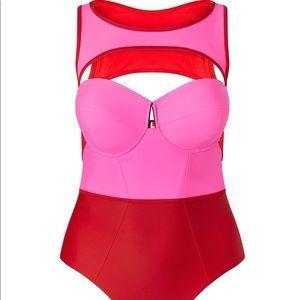 NEW Hot pink Chromat X Bustier suit - plus size